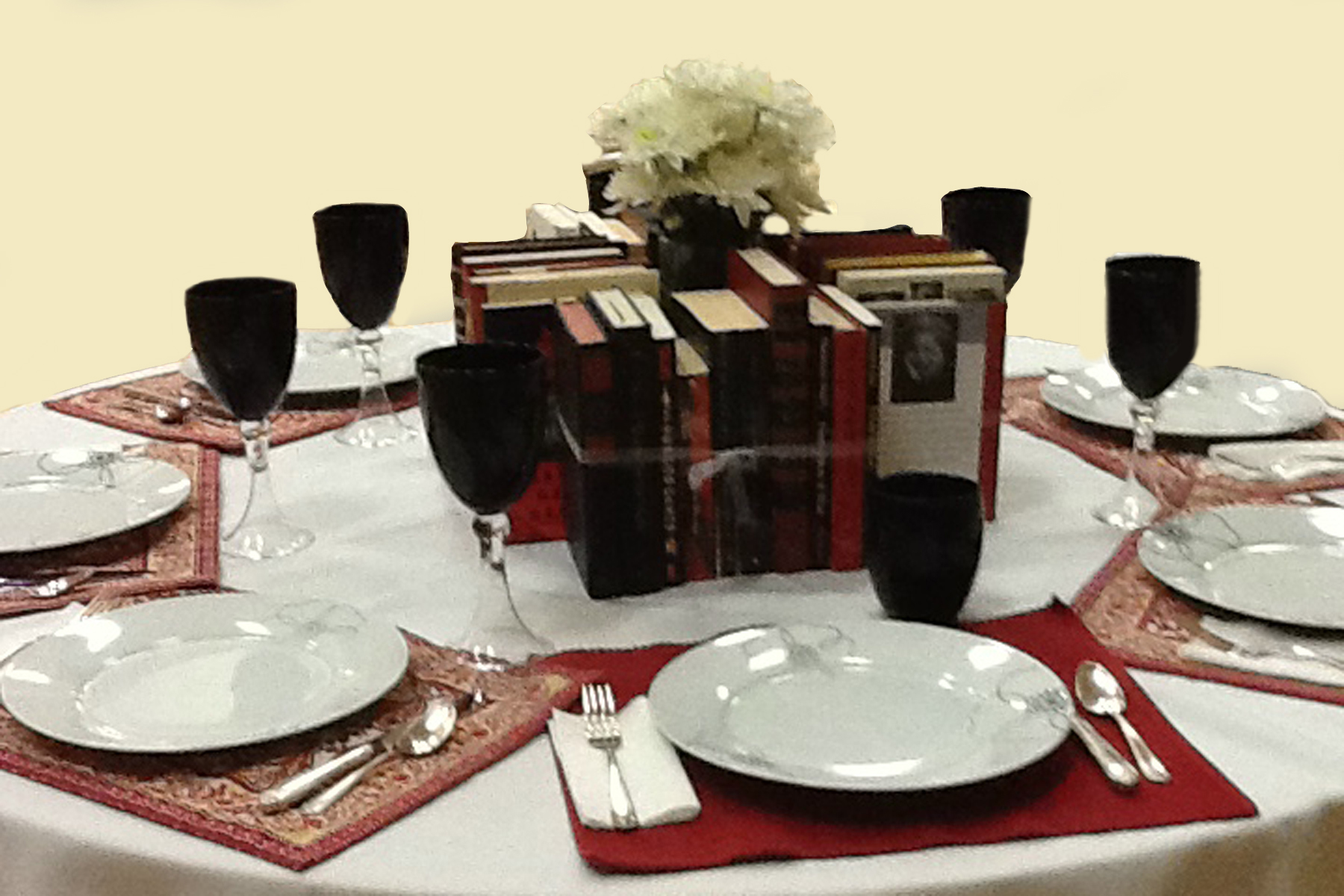Red Black And White Book Centerpieces The Bookshelf Of Emily J - Book table for dinner