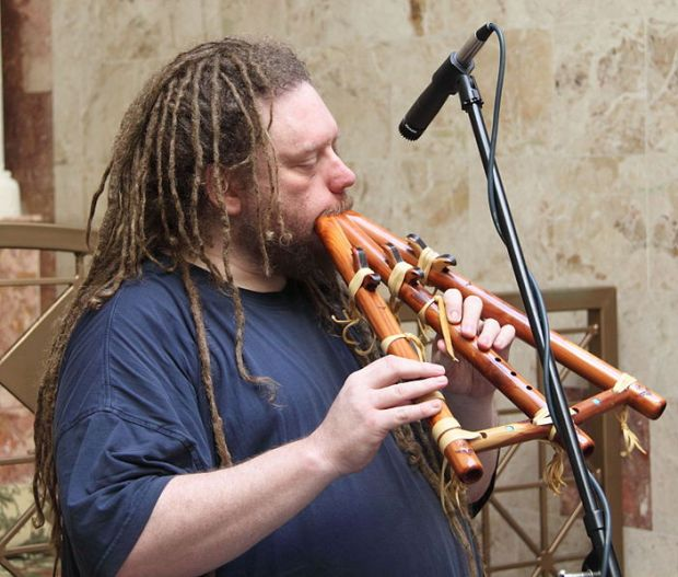 Photo of Jaron Lanier performing at the Garden of Memory Solstice Concert June, 2009 by Allan J. Cronin